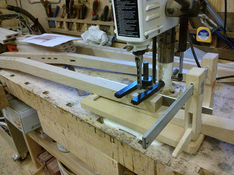 Cutting The Joinery - Arts & Crafts Oak Bench