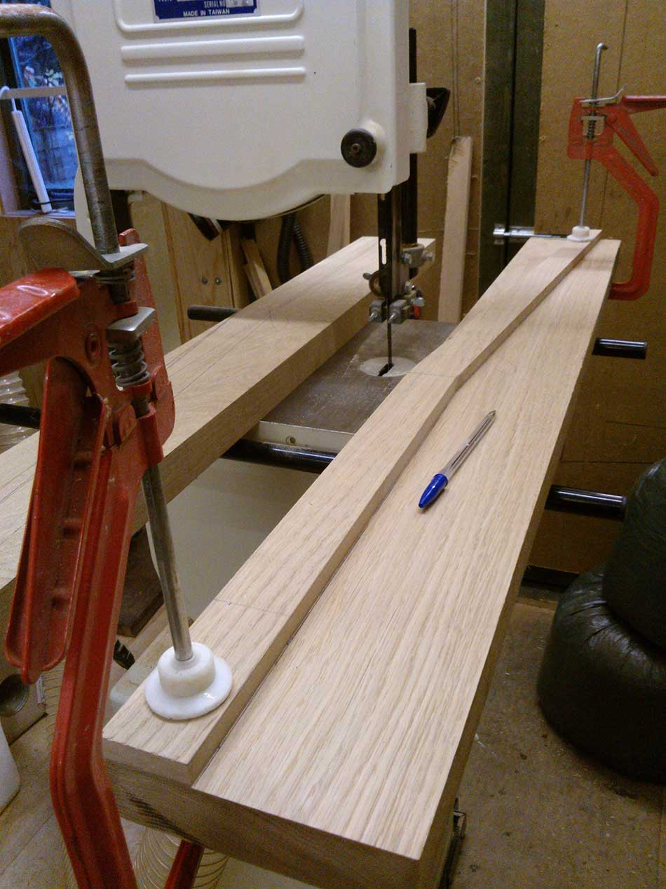 Shaping The Legs - Arts & Crafts Oak Bench